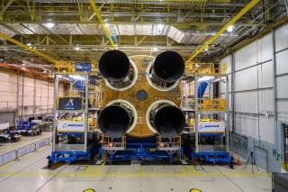 All four RS-25 rocket engines are