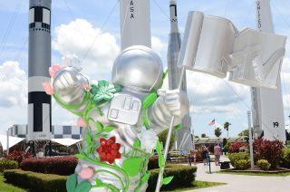 """A life-size statue of artist Kehinde Wiley's reimagined MTV """"Moon Person"""" trophy was revealed in the rocket garden at NASA's Kennedy Space Center Visitor Complex in Florida on Sunday, Aug. 1, 2021."""