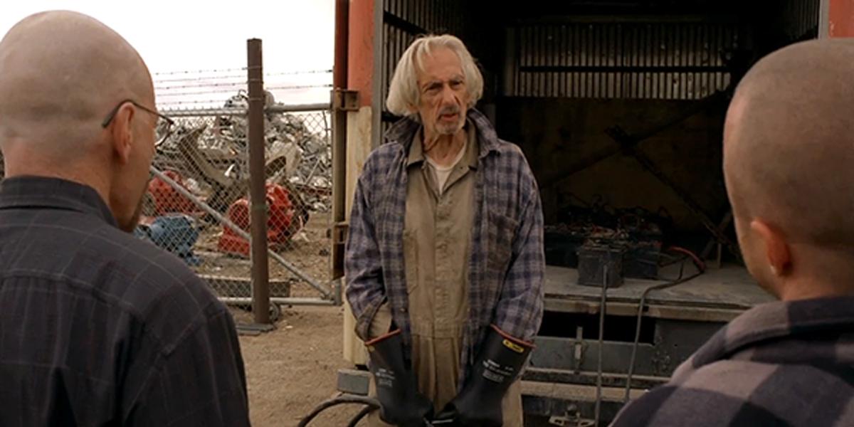 Breaking Bad Walt and Jesse visit Old Joe at Rocker Salvage junkyard AMC