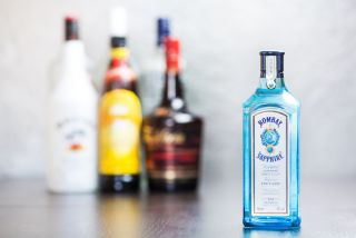 A bottle of Bombay Sapphire gin.