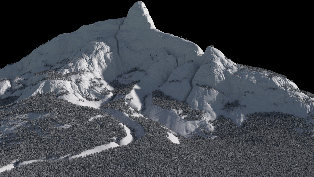 Snowy mountain scene in Houdini