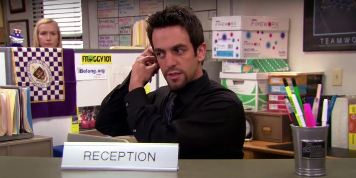 B.J. Novak as receptionist temp Ryan Howard in The Office