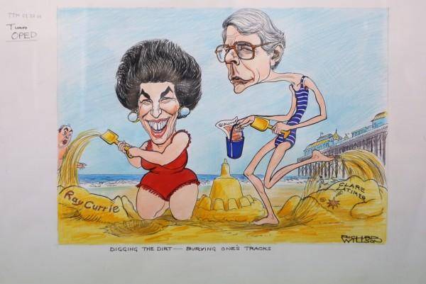 A cartoon featuring Edwina Currie and John Major by cartoonist Richard Wilson