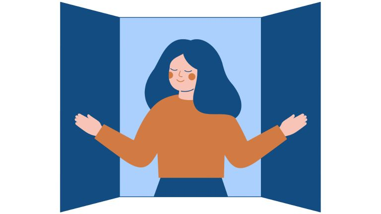 Illustration of woman letting fresh air in her window