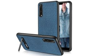 DueDue Denim Cloth Case with stand, and front view of phone case