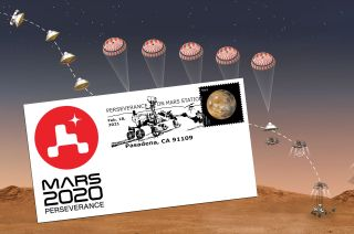 Mockup of a postmarked envelope for the Feb. 18, 2021 landing of NASA's Perseverance rover on Mars. The U.S. Postal Service is ready to produce the cancellation device and release the postmark once Perseverance touches down.