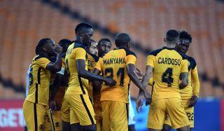 Erick Mathoho of Kaizer Chiefs celebrates his goal with teammates during the 2021 CAF Champions League match against Pedro De Luanda