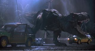 Tyrannosaurus rex roaring at cars in the movie Jurassic Park.