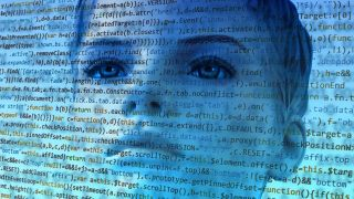 Online coding courses: Woman's face overlaid by lines of code