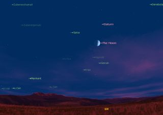 Moon, Saturn and Spica Sky Map