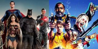 Justice League and Suicide Squad side by side