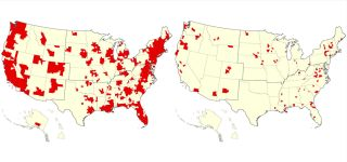 """Map showing US counties where COVID-19 patient demand is predicted to exceed supply (in red) between April 2 and May 13 under various levels of social distancing and hospital preparations. The map on the left models a scenario in which there is no social distancing and a """"low"""" hospital surge response; the map on the right models a scenario in which contact between people is reduced by 40% (through social distancing) and there is a """"high"""" hospital surge response."""