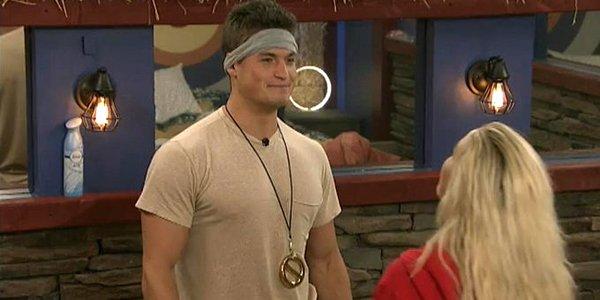 Big Brother 21 Jackson has Veto necklace talking to Kat CBS