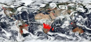 An image of NASA's Worldview highlights in red regions of the planet where satellite thermal imagers detect actively burning fires.