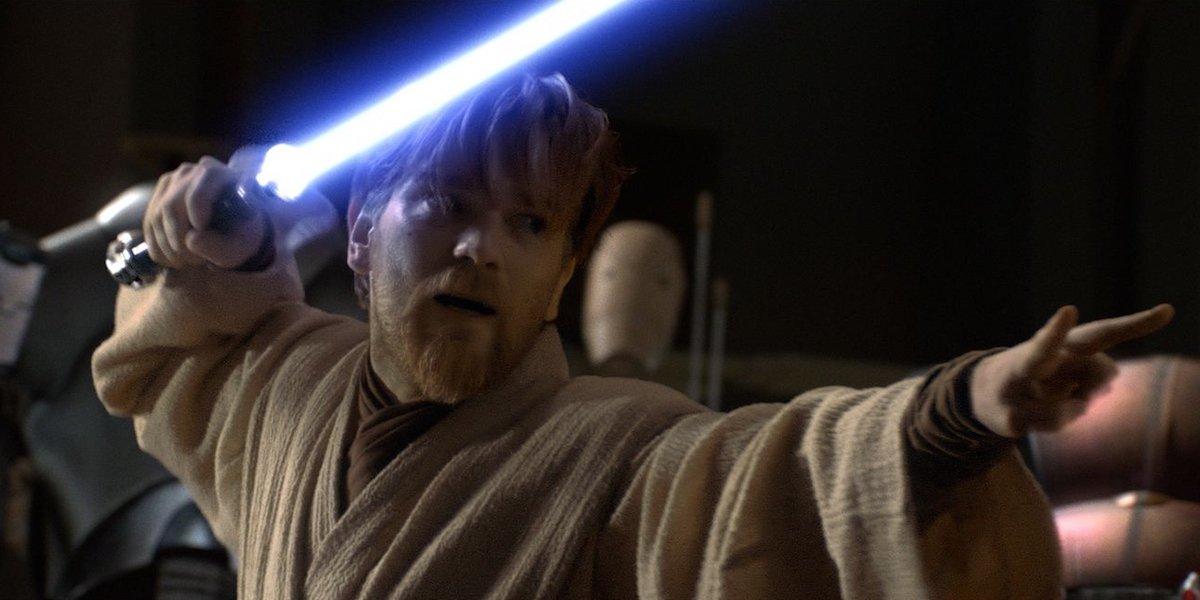 Obi-Wan Kenobi holding lightsaber in Star Wars: Revenge of the Sith