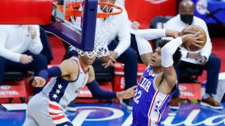 Matisse Thybulle #22 of the Philadelphia 76ers elevates for a dunk during the first quarter against the Washington Wizards during Game Five of the Eastern Conference first round series at Wells Fargo Center on June 2, 2021 in Philadelphia, Pennsylvania.