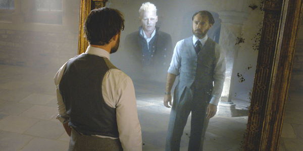 Jude Law as Albus Dumbledore and Johnny Depp as Gellert Grindelwald in Fantastic Beasts: The Crimes