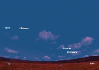 Mercury, Saturn and 2 Stars Sky Map