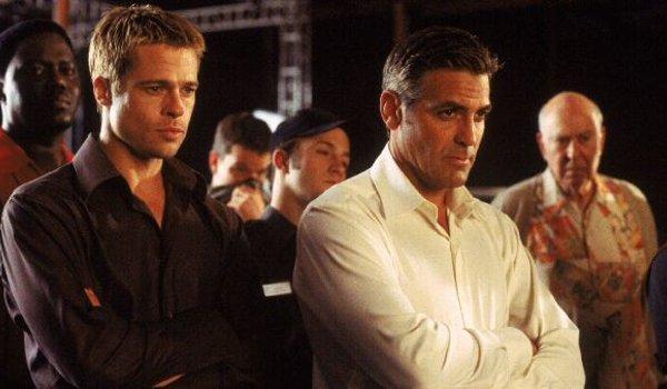 Oceans Eleven Bernie Mack Brad Pitt Matt Damon George Clooney Carl Reiner watching the action