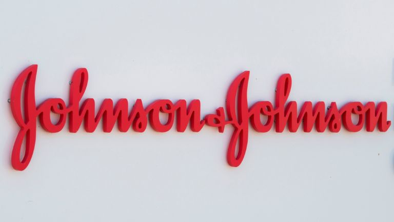 An entry sign to the Johnson & Johnson campus shows their logo in Irvine, California on August 28, 2019.