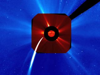 Comet Lovejoy skimmed across the Sun's edge about 140,000 km above the surface late Dec. 15 and early Dec. 16, 2011, furiously brightening and vaporizing as it approached the Sun. This images shows the comet during that time as seen by the SOHO spacecraft