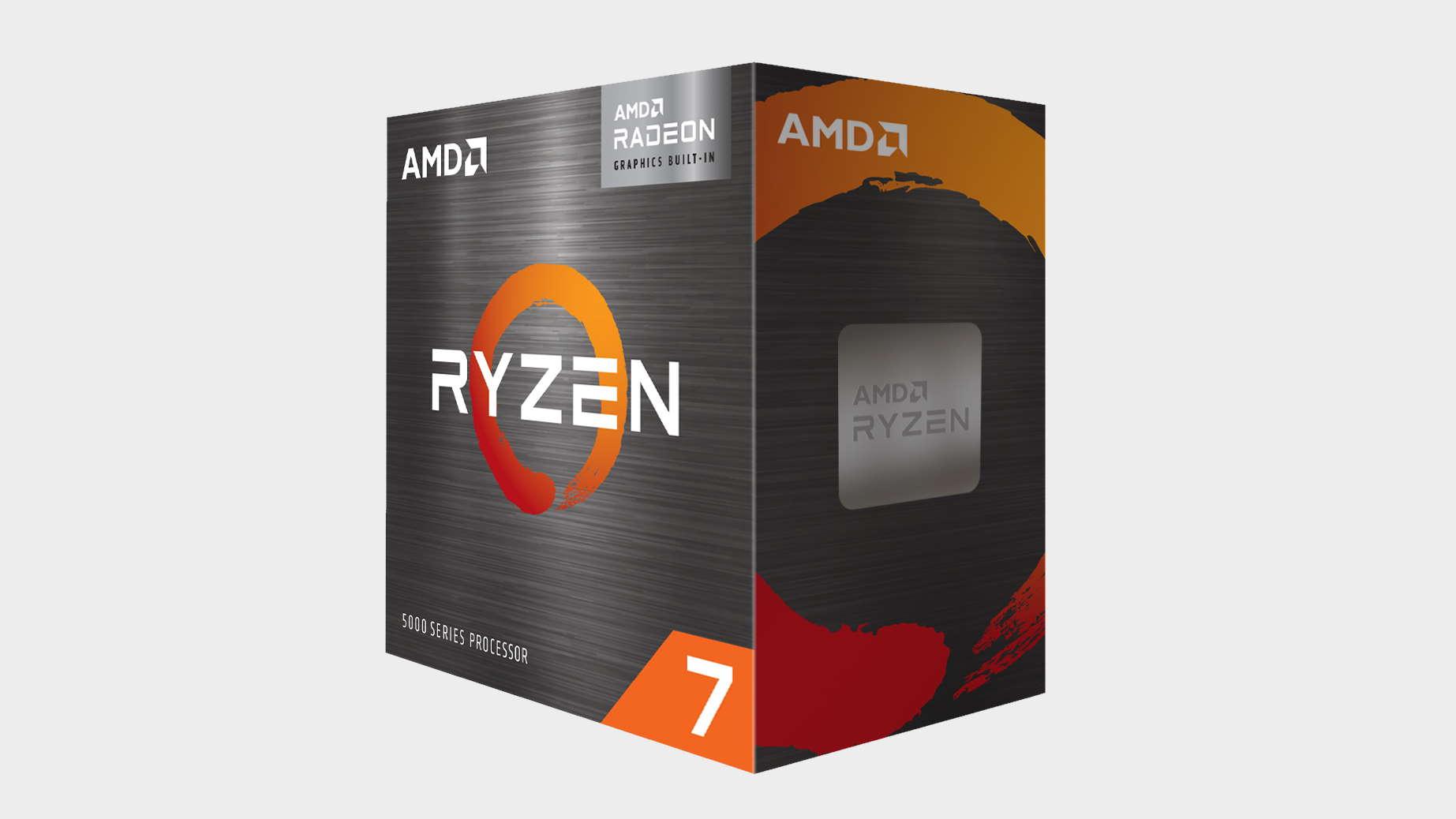AMD Ryzen 7 5700G in its packaging on a grey background