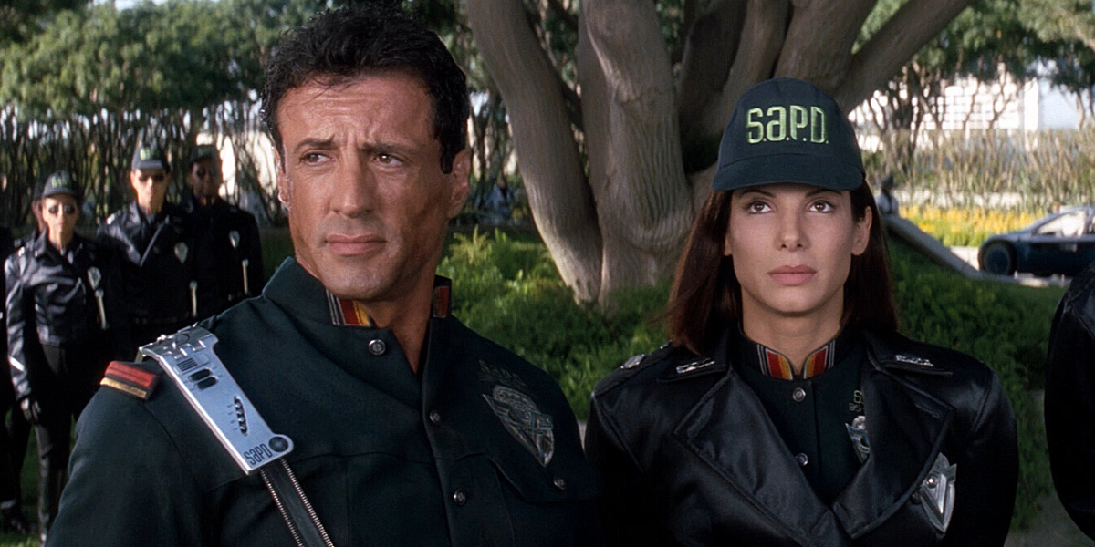 Sylvester Stallone and Sandra Bullock in Demolition Man