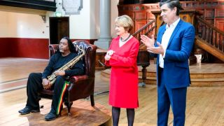 Portraits Artist of the Year moderates Joan Bakewall and Stephen Mangan with jazz star Courtney Pine