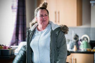 Karen Taylor is terrified in EastEnders