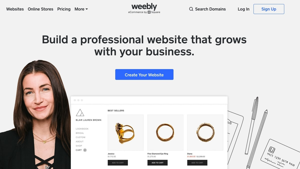 Weebly's homepage