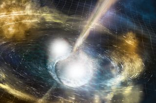 An artist's illustration of two neutron stars merging. This type of stellar collision created heavy elements in the early universe.