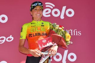 SIENA ITALY AUGUST 01 Podium Margarita Victoria Garcia Caellas of Spain and Team Ale BTC Ljubljana Celebration Trophy Flowers during the Eroica 6th Strade Bianche 2020 Women Elite a 136km race from Siena to Siena Piazza del Campo StradeBianche on August 01 2020 in Siena Italy Photo by Luc ClaessenGetty Images