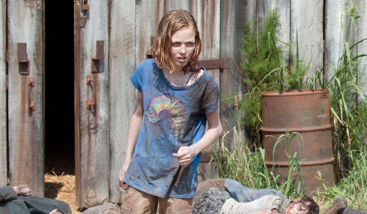 sophie coming out of barn as walker