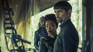 Sonequa Martin-Green as Michael Burnham; James Frain as Sarek in Star Trek: Discovery