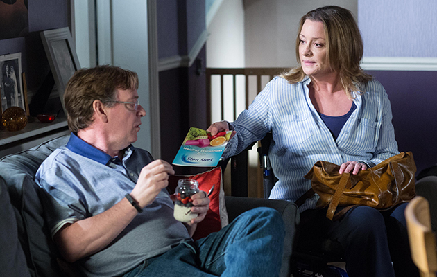 Jane Beale tries to encourage Ian Beale with his health kick, showing him the leaflet about the diet class in Eastenders