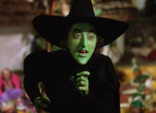"Margaret Hamilton as the Wicked Witch of the West in ""The Wizard of Oz"" (1939)."
