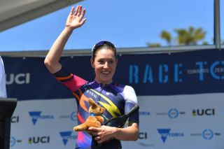 TORQUAY AUSTRALIA JANUARY 30 Podium Tanja Erath of Germany and Team CanyonSRAM Racing Intermediate Sprint Prize Celebration during the 4th Towards Zero Race Torquay 2020 Women Elite a 104km race from Torquay to Torquay CadelOfficial CadelRoadRace on January 30 2020 in Torquay Australia Photo by Tim de WaeleGetty Images