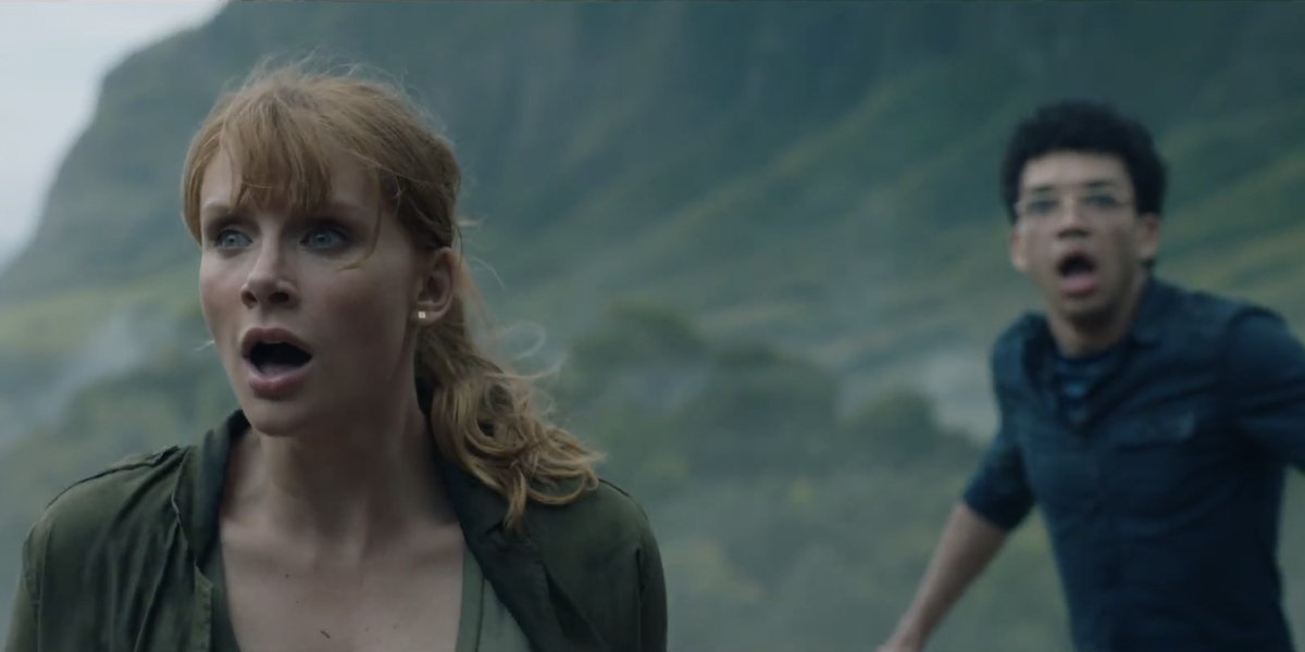 Jurassic World Fallen Kingdom Bryce Dallas Howard and Justice Smith panic on the island.