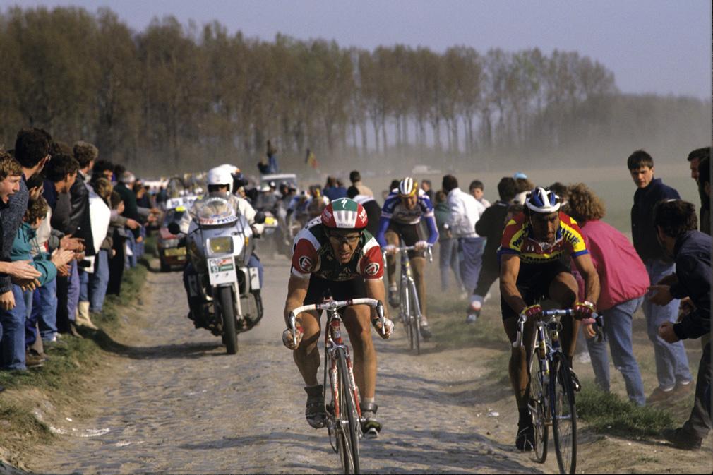 Steve Bauer and Eddy Planckaert Paris-Roubaix 1990