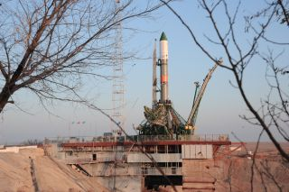 A Russian Soyuz rocket carrying the unmanned Progress 65 cargo ship stands ready for its Dec. 1, 2016 launch at Baikonur Cosmodrome, Kazakhstan. The supply ship will deliver more than 2.5 tons of supplies to the International Space Station.