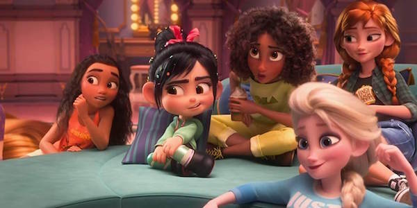 Princess Tiana, Moana, Vanellope, Elsa, Anna in Ralph Breaks the Internet
