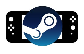 Steam logo over Switch style device