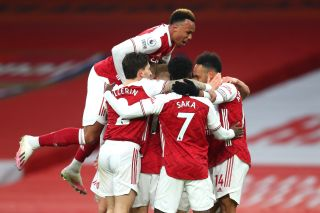 Pierre-Emerick Aubameyang celebrating his goal with teammates