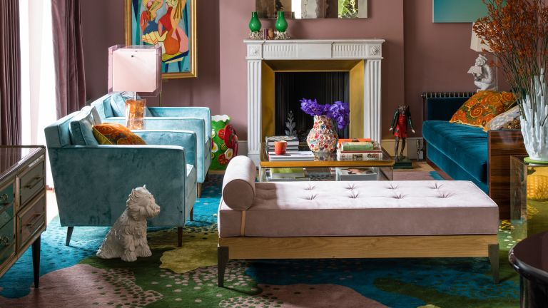 Pink and blue with room with colorful patterned carpet