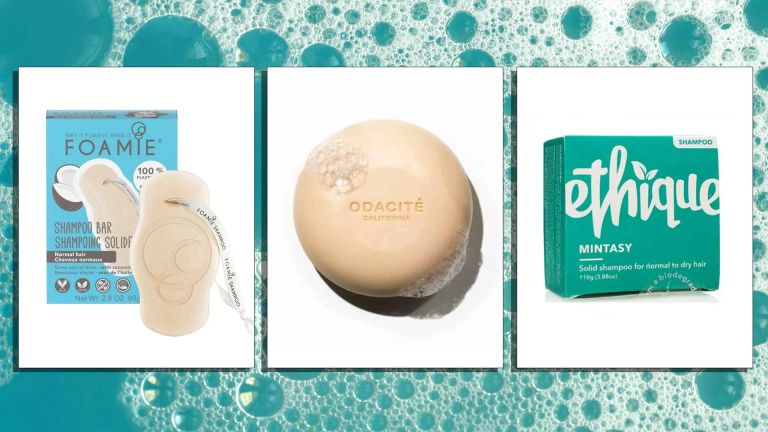 Best shampoo bars, pictured from left to right Foamie, Odacite and Ethique in mint