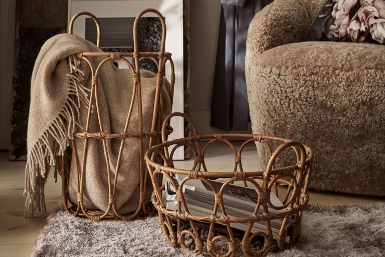 H&M Home large rattan storage basket with design