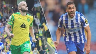 Teemu Pukki of Norwich City and Neal Maupay of Brighton & Hove Albion