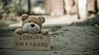 A teddy bear with a sign reading 'Looking for a friend'