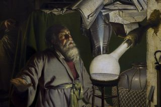 "A portion of ""The Alchymist, In Search of the Philosopher's Stone, Discovers Phosphorus, and prays for the successful Conclusion of his operation, as was the custom of the Ancient Chymical Astrologers,"" by Joseph Wright of Derby, now in Derby Museum and A"