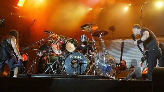 Joey Jordison onstage with Metallica